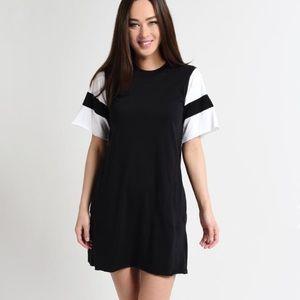 ATM Jersey Striped Sleeve Crewneck Dress